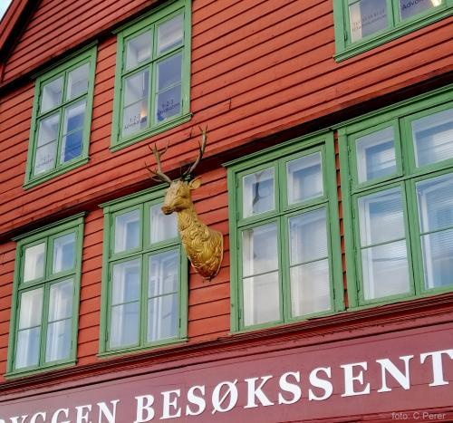 Bryggen oggi molto alla moda con molti pub e negozi di artigianato