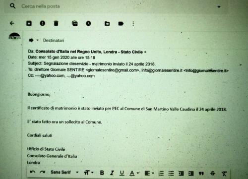 La mail del Consolato, quaranta minuti dopo la nostra segnalazione
