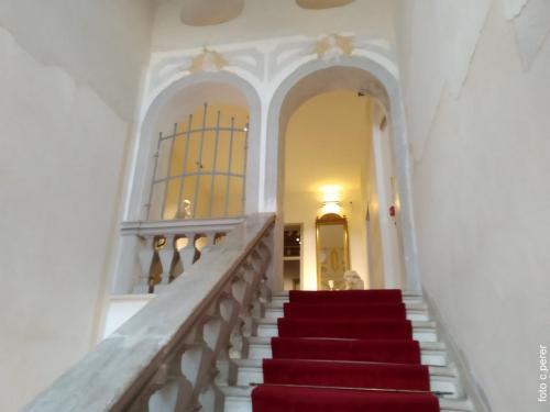 La scalinata che porta al nucleo centrale della Collezione Bassi Rathgeb
