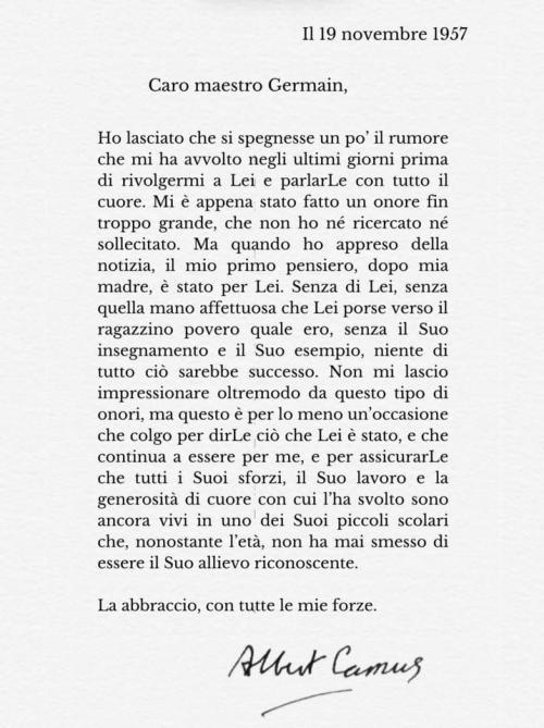 La lettera di Albert Camus al suo maestro elementare