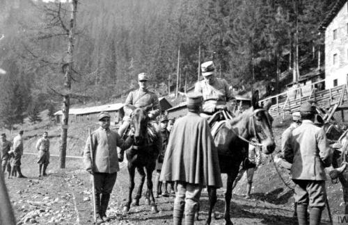 Cadorna in groppa ad un mulo, Alta Val Cordevole.