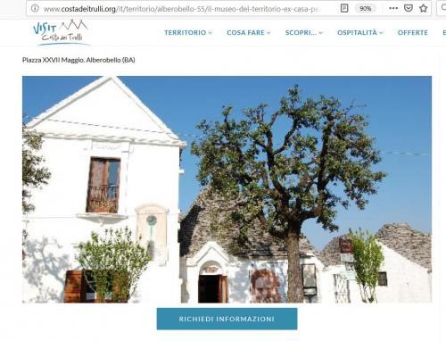 l'homepage del sito del Museo del Territorio