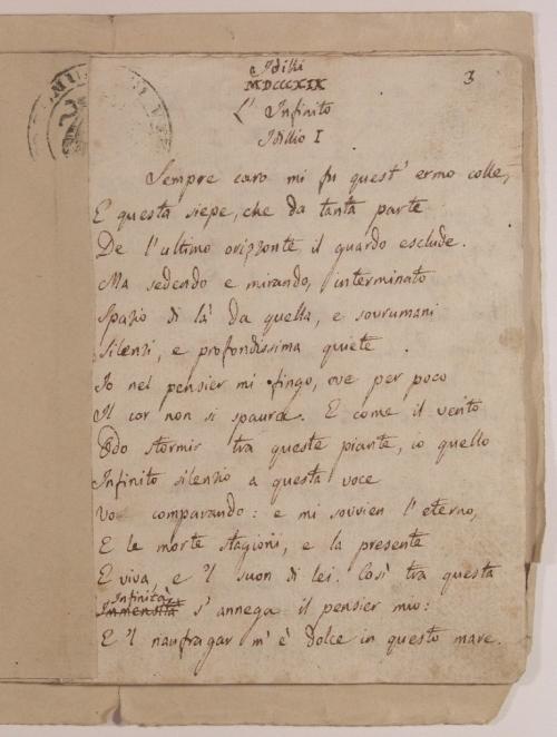 Il manoscritto dell'Infinito, 200 anni di poesia eterna