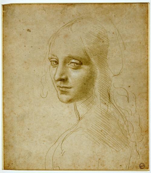 Leonardo da Vinci,Ritratto di fanciulla, presunto studio per il volto dell'angelo della Vergine delle Rocce1483-1485
