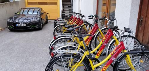 Hotel Sonnalp a Maurach: postazione di ricarica per auto elettriche e bici a volontà per gli ospiti