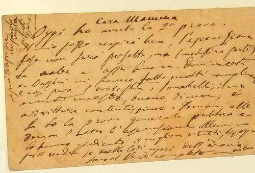 Uno scritto autografo alla mamma: ''Ho avuto la seconda prova, non sarà perfetta, ma....''-  Milano 1884