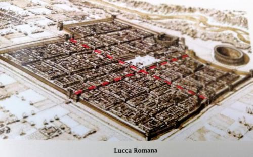 Una ricostruzione di come doveva essere Lucca al tempo dei Romani