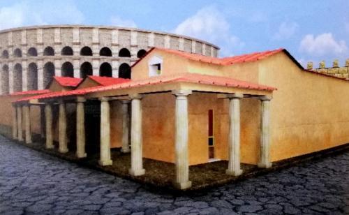 La ricostruzione della Domus Romana: aveva peristilio, triclinio, un vasto atrio e anche una bottega