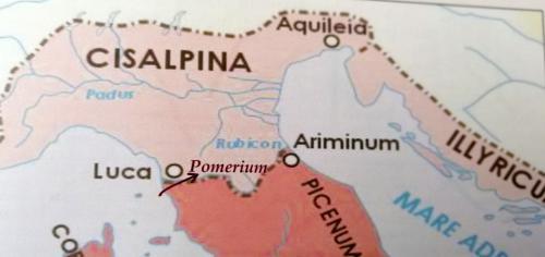 La posizione di Lucca  al tempo di Cesare: è sul confine tra Impero Romano e Gallia e questo le conferisce importanza miltare