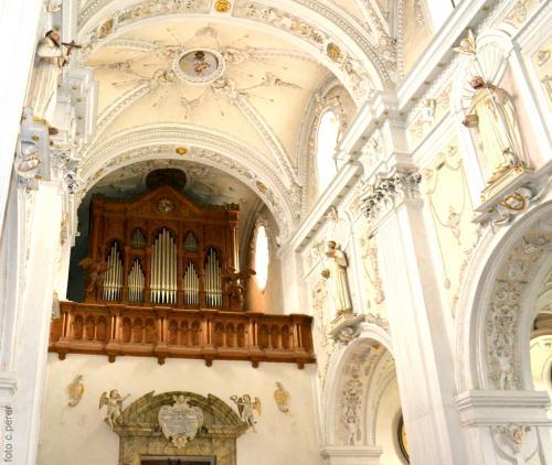 Organo monumentale e stucchi. L'abbazia appartiene alla Congregazione benedettina di Svizzera.