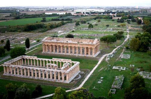 I templi di Era e Poseidone dall'alto